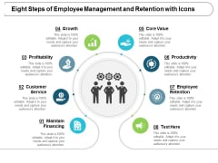 Eight Steps Of Employee Management And Retention With Icons Ppt Powerpoint Presentation Visual Aids Example 2015