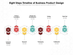 Eight Steps Timeline Of Business Product Design Ppt PowerPoint Presentation File Icon PDF
