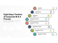 Eight Steps Timeline Of Corporate M And A Process Ppt PowerPoint Presentation File Diagrams PDF
