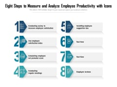 Eight Steps To Measure And Analyze Employee Productivity With Icons Ppt PowerPoint Presentation Gallery Vector PDF