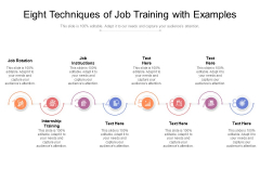 Eight Techniques Of Job Training With Examples Ppt PowerPoint Presentation Model Graphics Template PDF