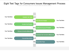Eight Text Tags For Consumers Issues Management Process Ppt PowerPoint Presentation Infographics Vector PDF
