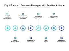 Eight Traits Of Business Manager With Positive Attitude Ppt PowerPoint Presentation Styles Rules