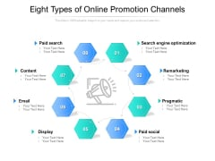 Eight Types Of Online Promotion Channels Ppt PowerPoint Presentation Show Topics