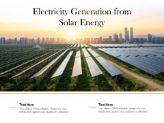 Electricity Generation From Solar Energy Ppt PowerPoint Presentation Slides Icons