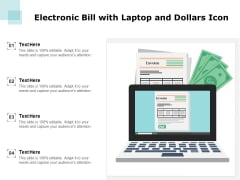 Electronic Bill With Laptop And Dollars Icon Ppt PowerPoint Presentation Topics PDF