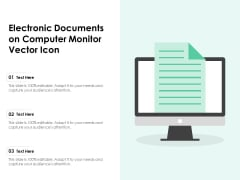 Electronic Documents On Computer Monitor Vector Icon Ppt PowerPoint Presentation Styles Display PDF
