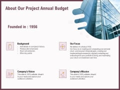 Elements About Our Project Annual Budget Ppt Outline Outfit PDF
