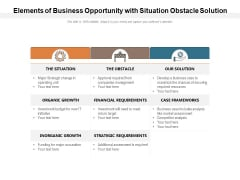 Elements Of Business Opportunity With Situation Obstacle Solution Ppt PowerPoint Presentation Pictures Design Inspiration
