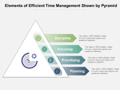 Elements Of Efficient Time Management Shown By Pyramid Ppt PowerPoint Presentation File Example Introduction PDF