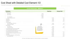 Elements Of Production Cost Cost Sheet With Detailed Cost Element Cost Portrait PDF