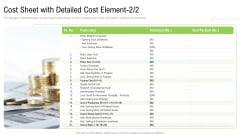 Elements Of Production Cost Cost Sheet With Detailed Cost Element Stock Topics PDF