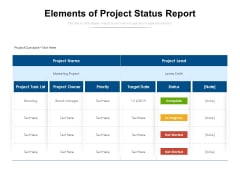 Elements Of Project Status Report Ppt PowerPoint Presentation Inspiration Objects PDF