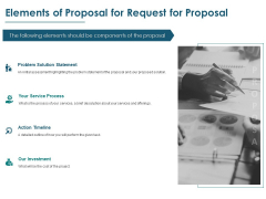 Elements Of Proposal For Request For Proposal Ppt PowerPoint Presentation Show Icon