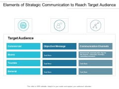 Elements Of Strategic Communication To Reach Target Audience Ppt PowerPoint Presentation Icon Mockup