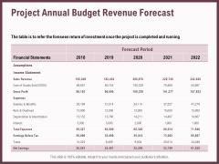Elements Project Annual Budget Revenue Forecast Ppt Infographics Inspiration PDF