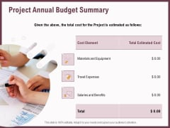 Elements Project Annual Budget Summary Ppt Model Example Introduction PDF
