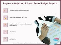 Elements Purpose Or Objective Of Project Annual Budget Proposal Ppt Infographics Objects PDF