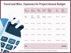 Elements Travel And Misc Expenses For Project Annual Budget Ppt Portfolio Summary PDF