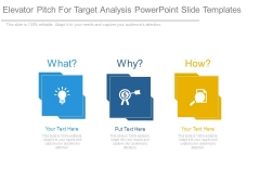 Elevator Pitch For Target Analysis Powerpoint Slide Templates