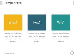 Elevator Pitch Ppt PowerPoint Presentation Template