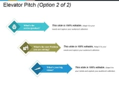 Elevator Pitch Template 1 Ppt PowerPoint Presentation Icon Brochure