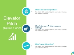 Elevator Pitch Template 1 Ppt PowerPoint Presentation Icon Graphics Design