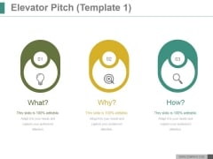 Elevator Pitch Template 1 Ppt PowerPoint Presentation Icon