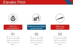 Elevator Pitch Template 2 Ppt PowerPoint Presentation Inspiration Outfit