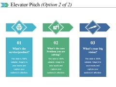 Elevator Pitch Template 2 Ppt PowerPoint Presentation Slides Vector