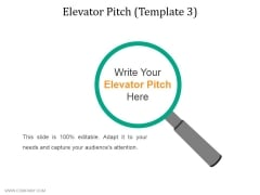 Elevator Pitch Template 3 Ppt PowerPoint Presentation Infographics Elements