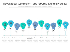Eleven Ideas Generation Tools For Organizations Progress Ppt PowerPoint Presentation Portfolio Files PDF