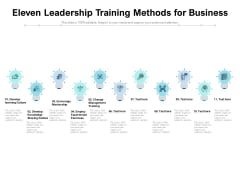 Eleven Leadership Training Methods For Business Ppt PowerPoint Presentation Model Skills PDF