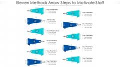 Eleven Methods Arrow Steps To Motivate Staff Ppt PowerPoint Presentation File Skills PDF