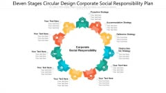 Eleven Stages Circular Design Corporate Social Responsibility Plan Ppt PowerPoint Presentation File Deck PDF