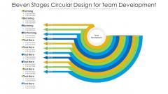 Eleven Stages Circular Design For Team Development Ppt PowerPoint Presentation Gallery Elements PDF