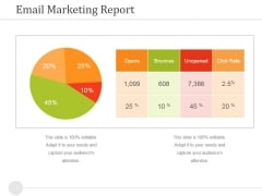 Email Marketing Report Ppt PowerPoint Presentation Icon Graphics Tutorials