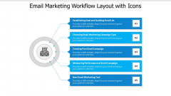 Email Marketing Workflow Layout With Icons Ppt PowerPoint Presentation File Model PDF