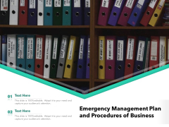 Emergency Management Plan And Procedures Of Business Ppt PowerPoint Presentation Gallery Mockup PDF
