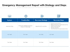 Emergency Management Report With Strategy And Steps Ppt PowerPoint Presentation Gallery Brochure PDF
