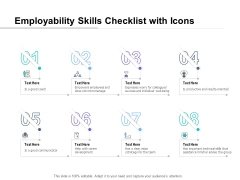 Employability Skills Checklist With Icons Ppt PowerPoint Presentation Layouts Information
