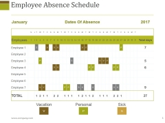 Employee Absence Schedule Ppt PowerPoint Presentation Introduction