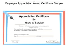 Employee Appreciation Award Certificate Sample Ppt PowerPoint Presentation Slides Outline