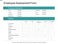 Employee Assessment Form Skills Ppt PowerPoint Presentation Slides Infographics