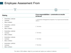 Employee Assessment From Performance Management Ppt PowerPoint Presentation Icon Elements