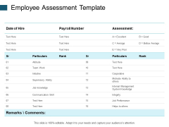 Employee Assessment Template Team Work Ppt PowerPoint Presentation Styles Aids