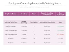 Employee Coaching Report With Training Hours Ppt PowerPoint Presentation Icon Example PDF