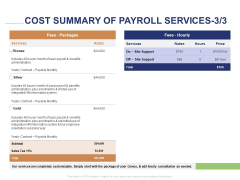 Employee Compensation Proposal Cost Summary Of Payroll Services Gold Ppt Infographic Template Layouts PDF