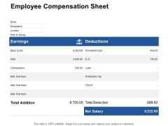 Employee Compensation Sheet Earnings Ppt PowerPoint Presentation Slides Design Ideas