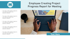 Employee Creating Project Progress Report For Meeting Ppt PowerPoint Presentation Layouts Images PDF